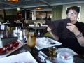 Mom at the Tamarind Oriental restaurant, a specialty restaurant aboard the Eurodam