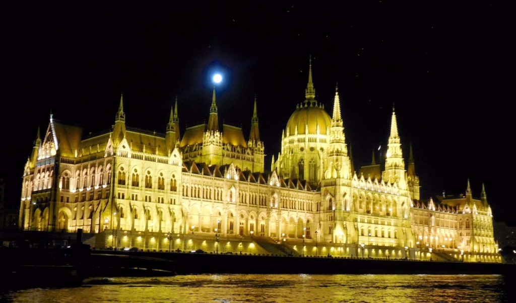 Budapest Parliament Bldg. with full moon